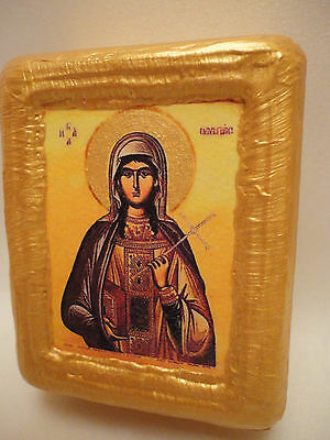Saint Olympias Olympia Rare Greek Orthodox Church Icon Art on Pine Wood Block