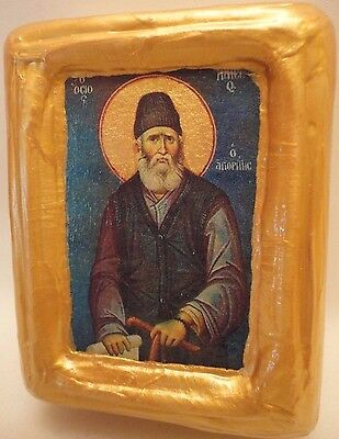 Saint Paisios of Mount Athos Greek Orthodox Church Icon Art on Pine Wood Block