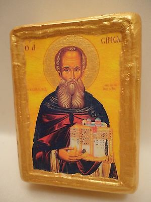 Saint Simon Rare Greek Eastern Orthodox Religious Icon on Wood Block - Name Gift