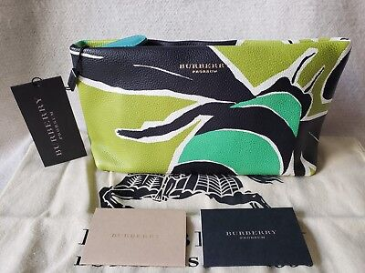 b048c68d3107 NWT Burberry Prorsum Insect Bee Pebbled printed Leather Clutch Green Blue  Yellow