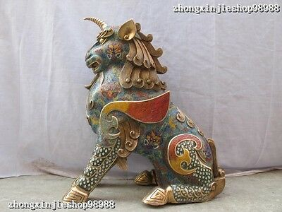Royal 100% pure bronze cloisonne Feng Shui Evil Door unicorn dragon Kylin statue