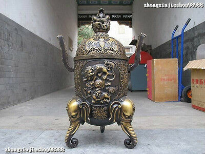 China Royal Pure Bronze Dragon Elephant Two Foo Dog Lion have fun  balls Censer