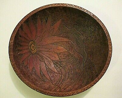 "TURNED BOWL wood POINSETTIA oval out of round 10-7/8""x10 FLOWER antique PAINTED"