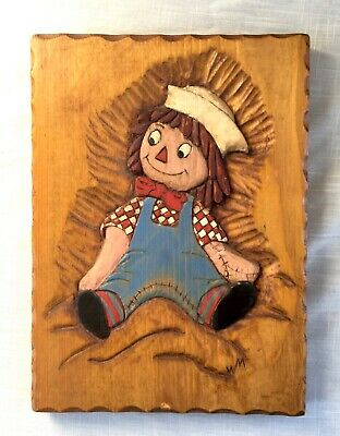 Hand Carved Vintage Wood Wall Plaque - Raggedy Andy - Signed WM