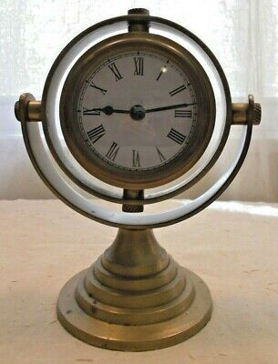 Vintage Brass Ships Clock On Stand Made In India 204 Decorative Arts