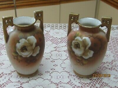 2 ANTIQUE HAND PAINTED NIPPON VASES / Victorian look