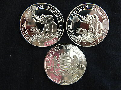 Lot of 3 - 2016 Somali African Elephant 100 Shillings 1 oz. Silver Coin BU