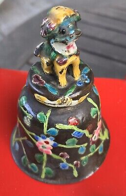 Antique Enamel CHINESE Figural Pug FOO DOG Dinner Table BELL Jade Glass Clapper