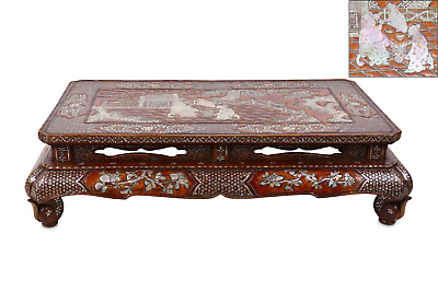 Rare Chinese Antique Lacquer Mother of Pearl Inlaid Kang Table, Qing dynasty (2)