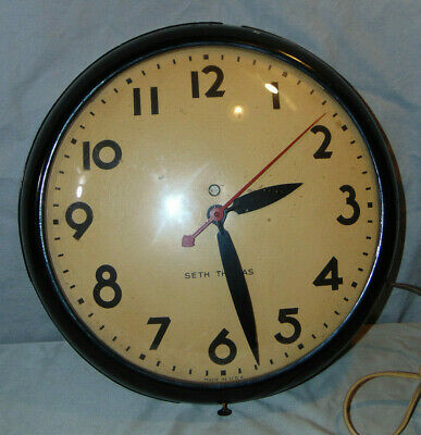 Vintage Seth Thomas Metal & Glass Schoolhouse Style Electric Wall Clock