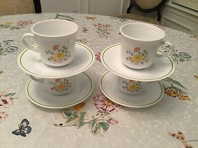 "Vintage Corelle ""Meadow"" discontinued Pattern Set of 4 Cups & Saucers"