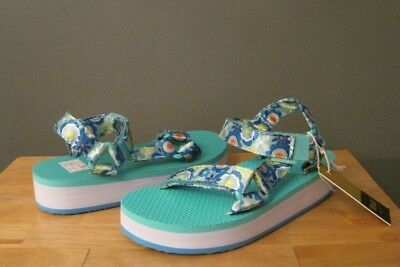 18e1c0466e1 Teva Little Kid Girl Blue Multi Flower Hi-Rise Universal Sandal US 11 12 13