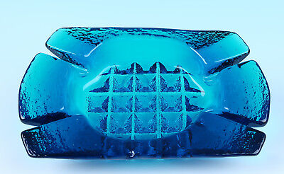 Vintage Blenko Peacock Blue Waffle Cigar Ashtray 698 Myers Nickerson 1960s Glass
