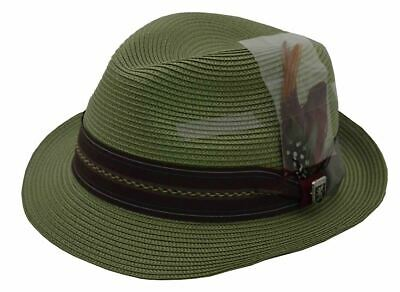 79dae06c Stacy Adams Poly Braid Runyon Fedora With Striped Grosgrain Band (Sage)