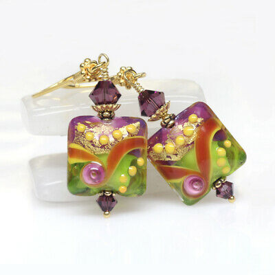 Amethyst and Lime Murano Glass Earrings, Multicoloured, Lampwork Earrings