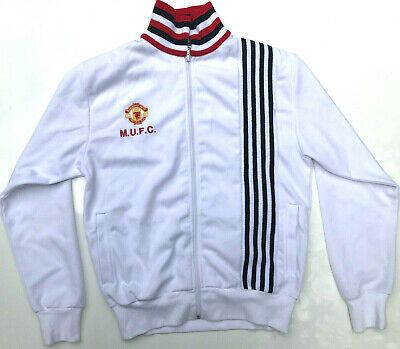 Men's Manchester United Official Retro Track Jacket White Sweatshirt Size M
