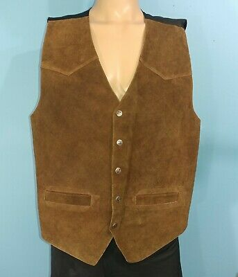 Thums Up Suede Leather Western Casual Vest Size XL XLarge