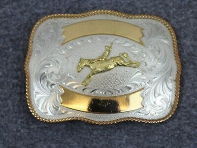 Vintage Montana Silversmiths Cowboy Rodeo Nickle Belt Buckle Made In USA