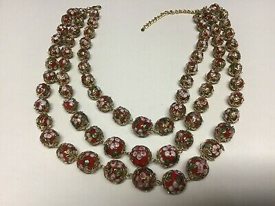 """Vtg Chinese Red Gold Cloisanne Triple Strand Graduated Bead 20"""" Necklace"""