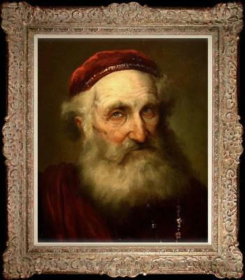 Hand painted Old Master-Art Antique Oil Painting Portrait old man on Canvas