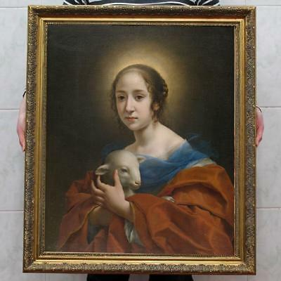 """40"""" Hand-painted Old Master-Art Antique Oil Painting Virgin Mary on canvas"""