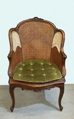 Antique French Louis XVI Double Cane Ornate Accent Chair w Green Tufted Cushion