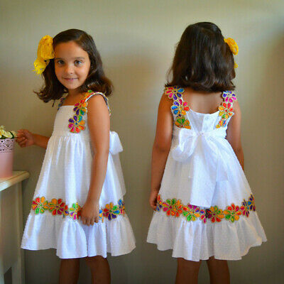 Toddler Child Baby Girl Floral Ruffled Bow Backless Party Casual Dress Sundress