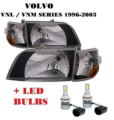1998-2011 VOLVO VN VNL VNM Series Daycab Headlights BLACK Lens Corner Lamps SET