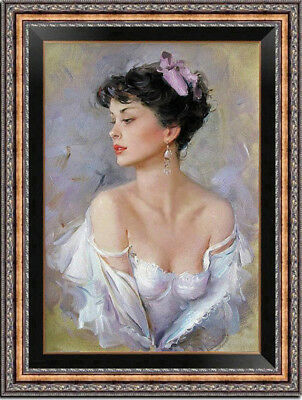 """Hand-painted Oil painting art Impressionism Portrait girl on Canvas 24""""X36"""""""