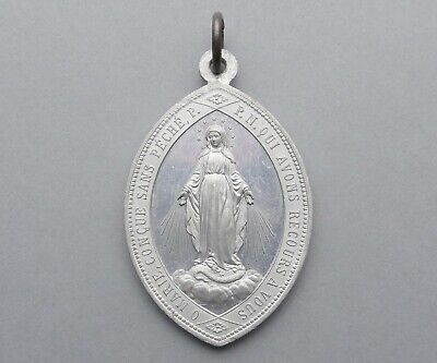 French, Antique Religious Large Pendant. Saint Virgin Mary. Miraculous Medal.