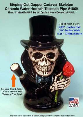 Stepping Out Dapper Skull Ceramic Glass Rumph Water Hookah Tobacco Pipe 1869 USA