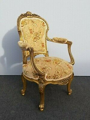 Antique French Provincial Louis XVI Rococo Gold Gilt Carved Accent Chair