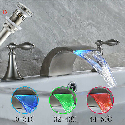 Oil Rubbed Deck Mount Widespread Bathroom Sink Faucet Lavatory Brass Dual Handle