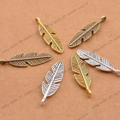 20Pcs Antique Silver/Gold Feather Leaves Charm Pensant DIY Findings A3077