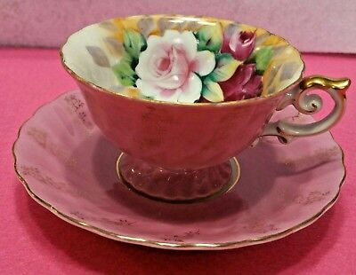 Colorful Roses Vintage Semco Tea Cup & Saucer Pretty In Pink