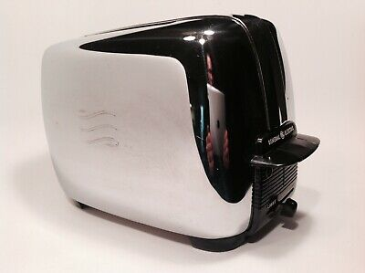 Vintage General Electric GE Chrome / Bakelite Toaster 1950's Working Very Clean