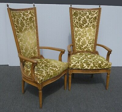 Pair Vintage Tallback French Provincial Green Velvet Accent Chairs w Finials