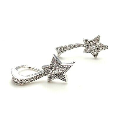 Authentic! Chanel Comete 18k White Gold Diamond Star Earrings