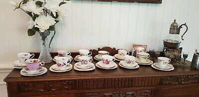 12 Sets Of Mixed Fine China. Plates sauces and cups.