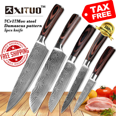 5PCS Stainless Steel Chef Knife Set Kitchen Cutlery Cooking Blades Wooden Handle