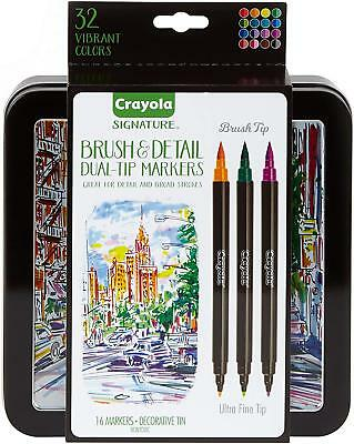New Crayola Brush Detail Dual Tip Markers Set Great for Writing Sketching 16 Pcs