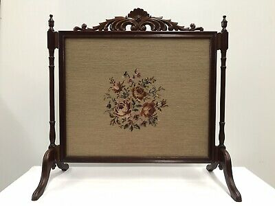 Vintage Hand Stitched Floral Design Tapestry Carved Wood Fire Screen