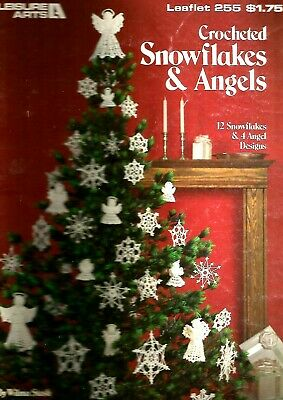 (VINTAGE)  CROCHETED SNOWFLAKES & ANGELS. LEAFLET 255.  by WILMA STASH.
