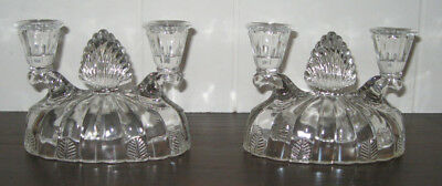 2 Vintage Clear Crystal Glass Double Candle Holders Art Deco Vertical Ribbed