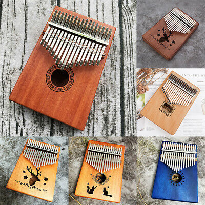 EQ 17 Key Kalimba Mbira Thumb Piano Link Speaker Electric Pickup with Bag Cable#