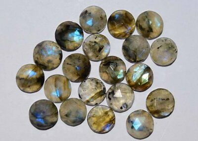 Natural Flashy Labradorite Rose Cut Faceted Round Gemstone Size 8MM 5 Pieces