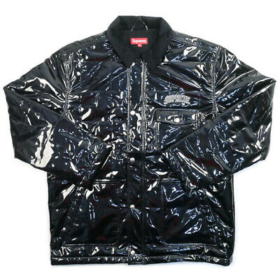 cheap for discount 350d3 178d8 SUPREME 18 SS Quilted Patent Vinyl Work Jacket BLACK M