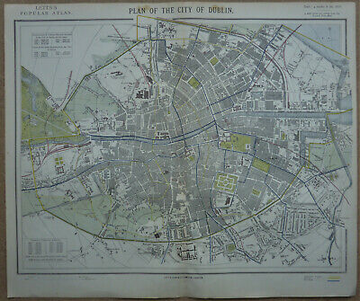 Plan of the city of Dublin by Thomas Letts c1881