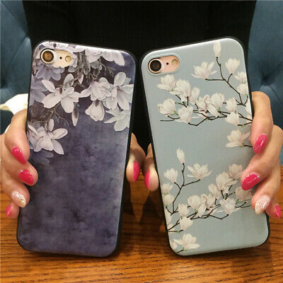 Elegant Flower Case For iPhone XS MAX XR 7 8 Plus X Pretty Floral Cartoon Cover
