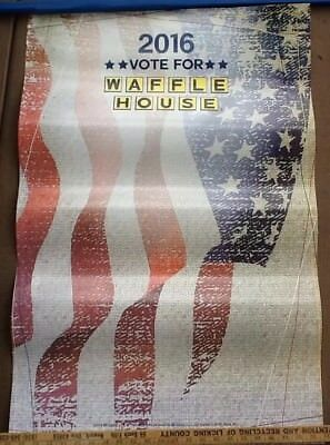 """Vote For Waffle House 2016 Election Themed USA Flag Patriotic Poster 23x35"""""""